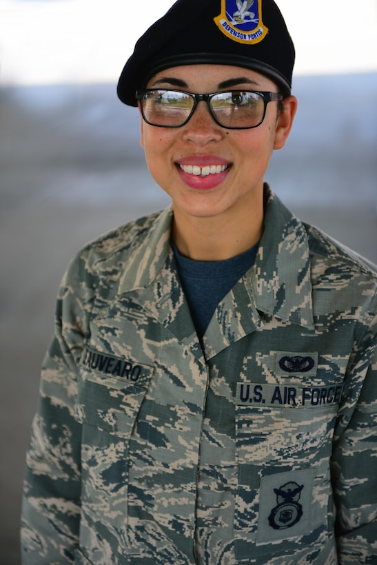 U.S. Air Force Senior Airman Jasmine Deauvearo, an armorer assigned to the 509th Security Forces Squadron (SFS), poses at Whiteman Air Force Base, Mo., April 24, 2017.
