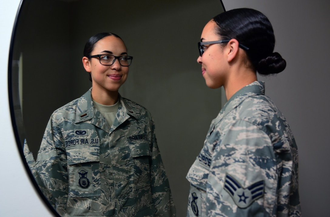 The reflection of U.S. Air Force Senior Airman Jasmine Deauvearo, a 509th Security Forces Squadron (SFS) armorer, mirrors her goals for the future at Whiteman Air Force Base, Mo., Sept. 26, 2017.