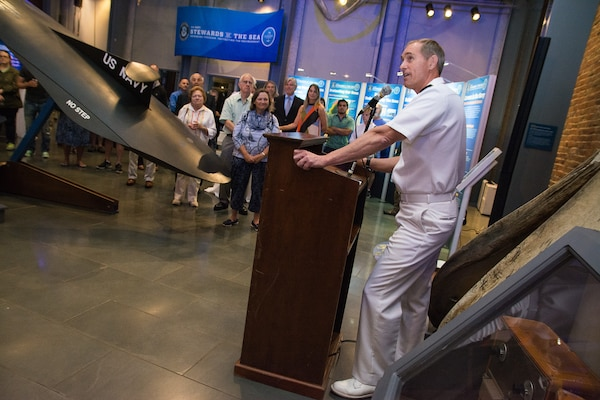 Image: Naval Undersea Warfare Center, Newport Division Commanding Officer Capt. Michael Coughlin  at the New Bedford Whaling Museum in New Bedford, Massachusetts, Sept. 28.