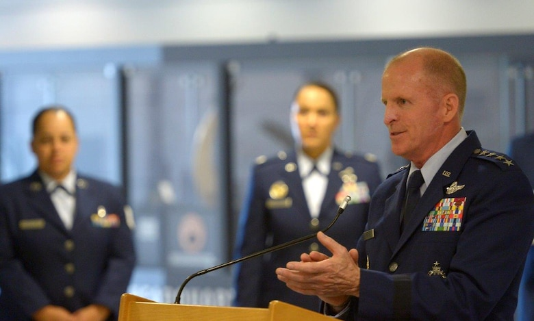 Air Force Vice Chief of Staff Gen. Stephen W. Wilson speaks during an awards ceremony in the Pentagon, Arlington, Va., Oct. 5, 2017. During the ceremony, Wilson presented the 2016 Lance P. Sijan U.S. Air Force Leadership Award to four Airmen. (U.S. Air Force photo by Staff Sgt. Rusty Frank)