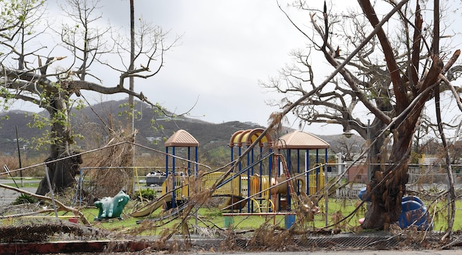 Debris piles in front of a local park in St. Croix, U.S. Virgin Islands, due to Hurricane Maria, September 28, 2017. (U.S. Air National Guard photo by Tech. Sgt. Gregory Ferreira/Released)