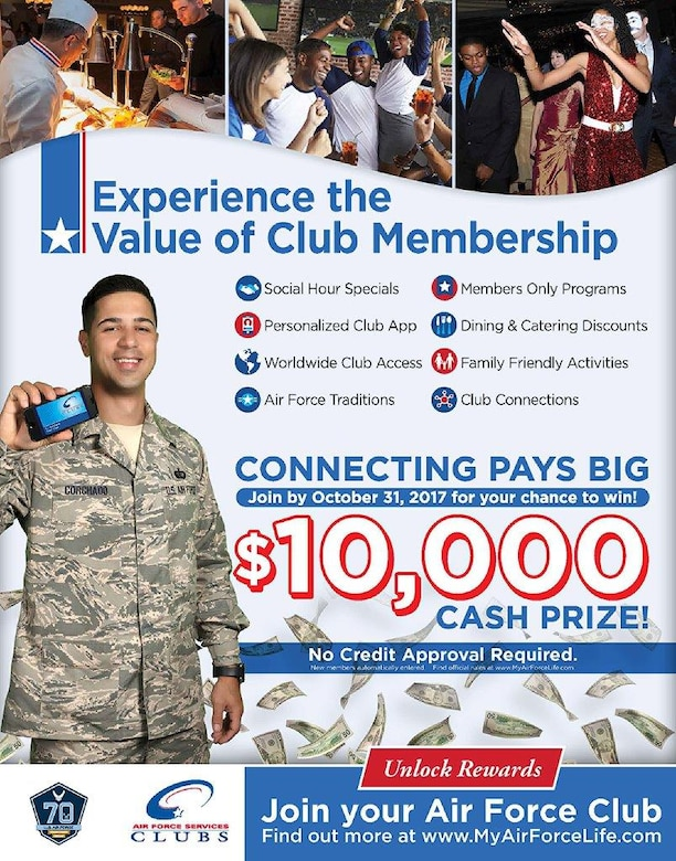 The Air Force Services Activity's new member drive ends Oct. 31, 2017. Those who join by then are eligible to win a $10,000 grand prize. (U.S. Air Force graphic by the Air Force Services Activity)