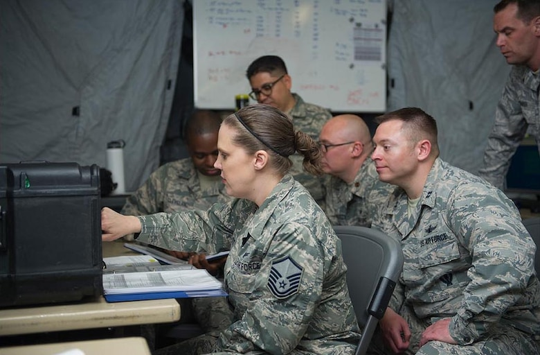 Operators and radio frequency technicians of the 379th Space Range Squadron utilize a field laboratory for training on satellite location acquisition and signal monitoring May 6, 2017.