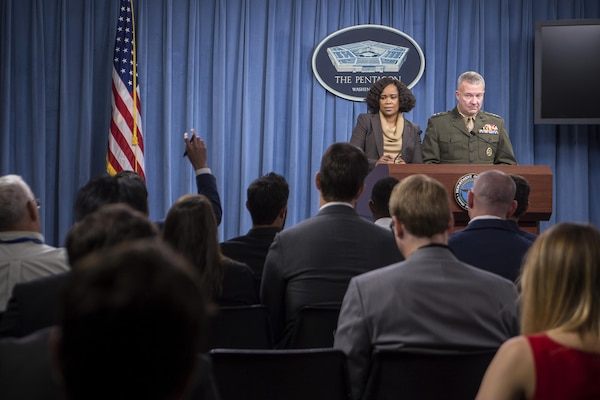 Chief Pentagon spokesperson Dana W. White and Marine Corps Lt. Gen. Kenneth F. McKenzie, the director of the Joint Staff, brief the media at the Pentagon, Oct. 5, 2017. DoD photo by Air Force Tech. Sgt. Brigitte N. Brantley