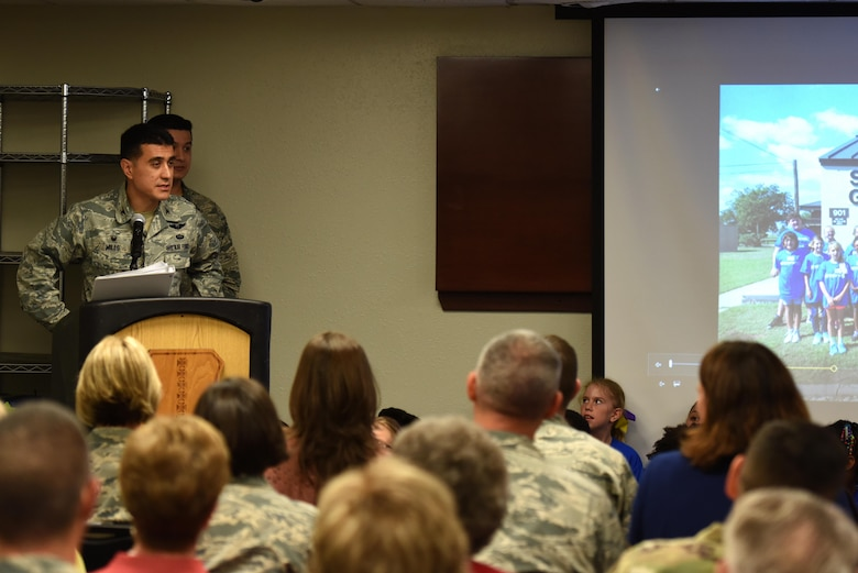 U.S. Air Force Col. Ricky Mills, 17th Training Wing commander, provides opening remarks for the ribbon cutting ceremony at the STARBASE Goodfellow building on Goodfellow Air Force Base, Texas, Oct. 4, 2017. Goodfellow, partnered with the San Angelo community, requested the Department of Defense to allow the program on base. (U.S. Air Force photo by Airman Zachary Chapman/Released)