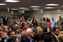 The audience of STARBASE's ribbon cutting ceremony at the STARBASE building on Goodfellow Air Force Base, Texas, Oct. 4, 2017. Leaders from Goodfellow and San Angelo attended the ceremony. (U.S. Air Force photo by Airman Zachary Chapman/Released)