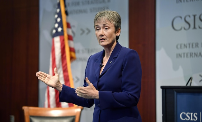 Secretary of the Air Force Heather Wilson speaks at the Center for Strategic & International Studies, Washington, D.C., October 5, 2017. Wilson highlighted the need to invest in our Airmen, readiness, modernization, and the future of Space operations. (U.S. Air Force photo by Wayne A. Clark)