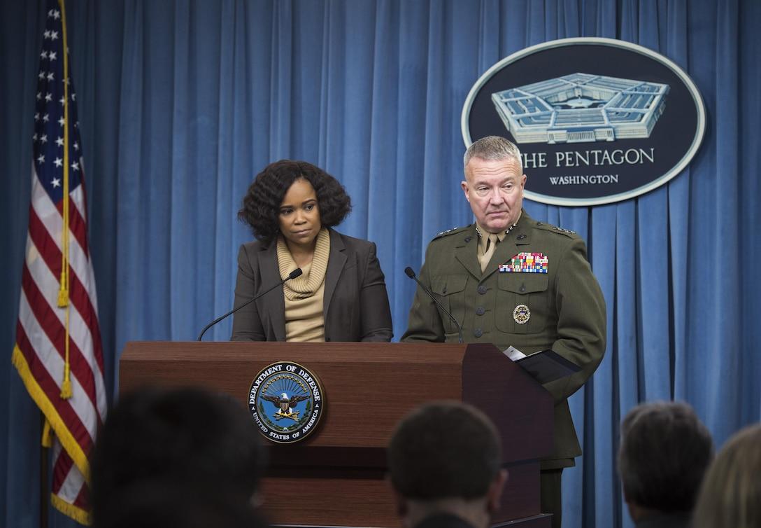 Chief Pentagon spokesperson Dana W. White and Joint Staff Director Marine Corps Lt. Gen. Kenneth F. McKenzie brief the media at the Pentagon.