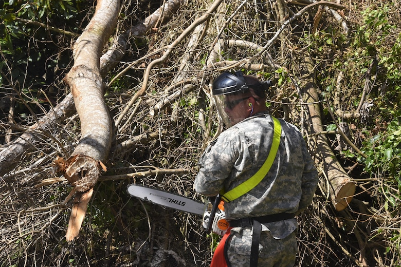 Clearing roads in Puerto Rico