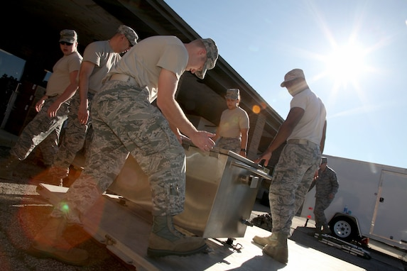 Members from the 179th Airlift Wing, Mansfield, Ohio and the 178th Wing, Springfield, Ohio, respond to hurricane relief efforts for Puerto Rico October 4, 2017. 15 airmen pack supplies needed for the next 30 days to maintain the Disaster Relief Mobile Kitchen (DRMKT). Airmen from both units will use the DRMKT to quickly prepare boil-in-the-bag meals for 1,000 people in under 90 minutes. The Ohio Air National Guard is always ready to respond with a team of trusted Airmen for state and federal missions.