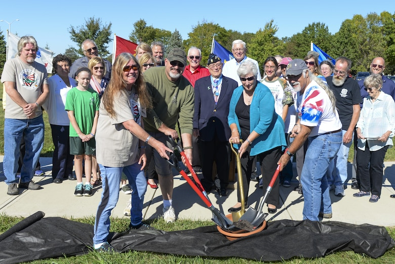 Medal of Honor recipient Hershel 'Woody' Williams along with Gold Star family members participate in the ceremonial groundbreaking for a new Gold Star Family Memorial ceremony at the National Museum of the United States Air Force, Wright-Patterson Air Force Base, Ohio, Sept. 28. During the ceremony, the crowd heard from several people including Williams and Gold Star parents Jim and Leslie Groves. (U.S. Air Force photo/Wesley Farnsworth)