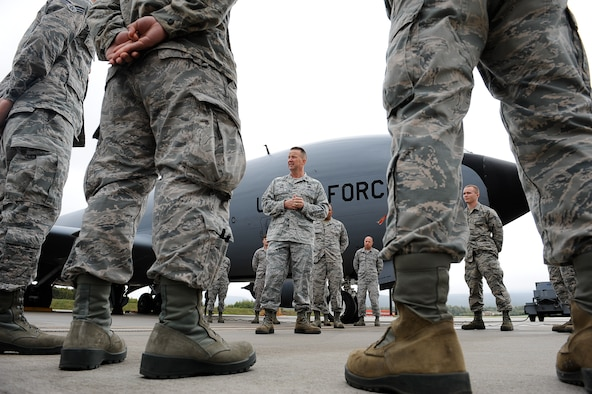 Col. Clifton Reed, 6th Maintenance Group commander, visited Ramstein Air Base Oct. 2, 2017, to personally thank the Airmen who helped repair a KC-135 from MacDill Air Force Base, Fla, for their hard work and diligence.