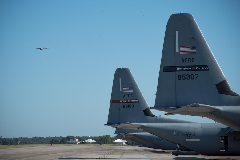 C-130J and WC-130J Super Hercules aircraft from the 403rd Wing evacuate Keesler Air Force Base Mississippi Oct. 6 as a precautionary measure ahead of the arrival of Tropical Storm Nate. (U.S. Air Force photo/Maj. Marnee A.C. Losurdo)