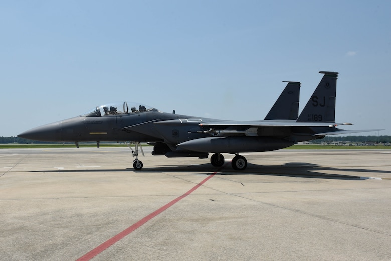An F-15E Strike Eagle taxis to the end of the runway for take-off, July 21, 2017, at Seymour Johnson Air Force Base, North Carolina.
