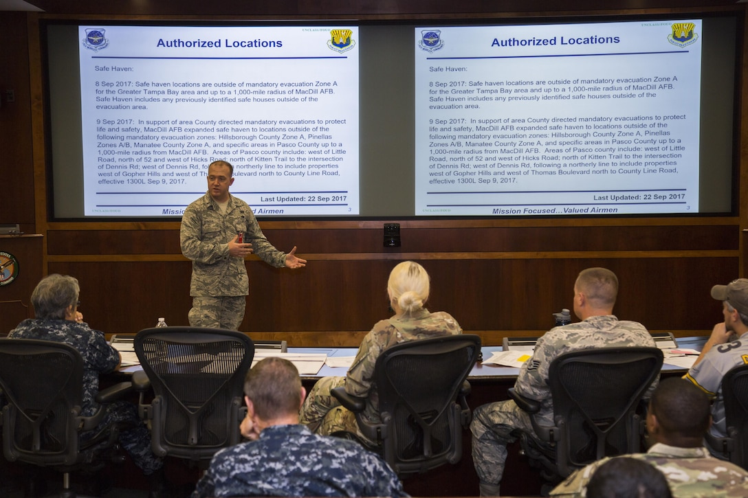 U.S. Air Force 1st Lt. Matthew Duncan, the financial services flight commander assigned to the 6th Comptroller Squadron, briefs U.S. Central Command personnel at MacDill Air Force Base, Fla., Oct. 5, 2017.