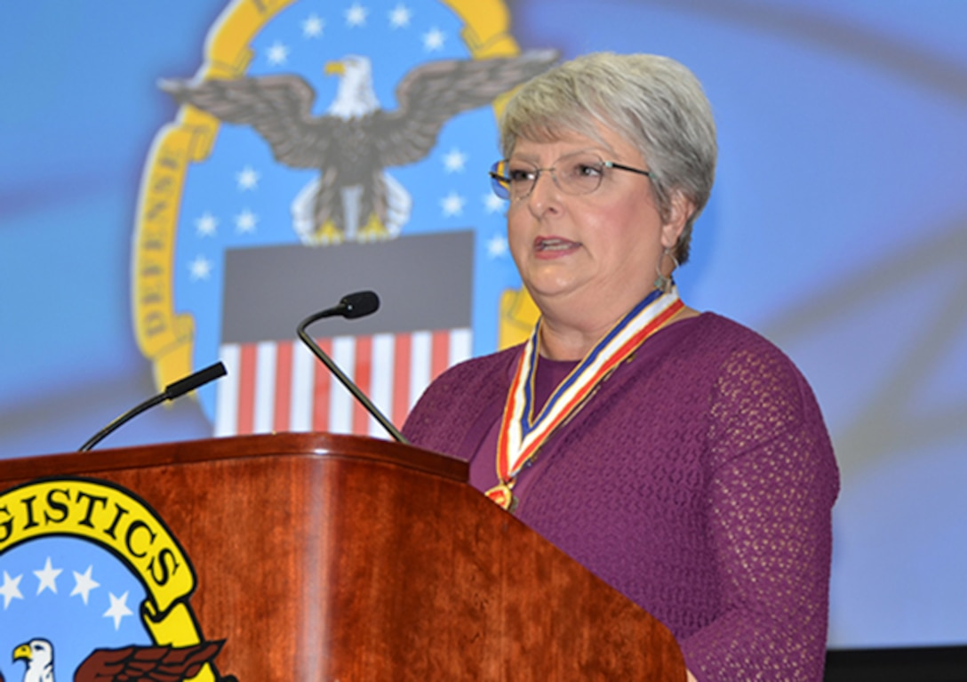 Defense Logistics Agency Aviation inducted its 35th Hall of Fame recipient, Carolynn Michel during the 2017 awards ceremony Sept. 27, in the Frank B. Lotts Conference Center on Defense Supply Center Richmond, Virginia.