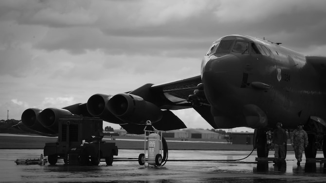 A B-52 Stratofortress arrives at Fairford Royal Air Force Base, U.K., Sept. 14, 2017.