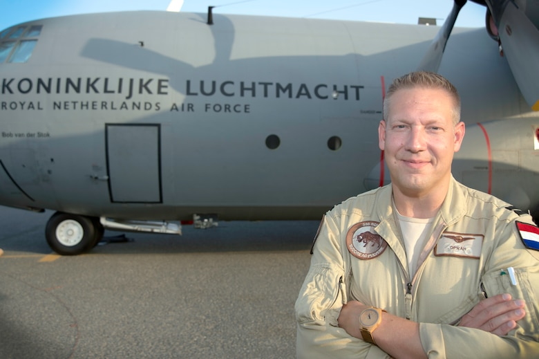 Capt. Gert-jan 1st(Netherlands) Air Task Force Operation Inherent Resolve pilot, stands in front of the the Royal Netherlands Air Force C-130 Hercules at an undisclosed location in Southwest Asia, Oct. 6, 2017. The RNLAF completed its first C-130H supply mission from a Southwest Asia location, Oct. 3.