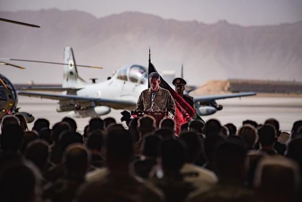 Army Gen. John W. Nicholson, commander of the Resolute Support Mission and U.S. Forces − Afghanistan, speaks during the official UH-60 Black Hawk arrival ceremony, Oct. 7, 2017, at Kandahar Airfield, Afghanistan. Nicholson and Afghanistan President Ashraf Ghani performed a ceremonial ribbon cutting celebrating the newest addition to Afghanistan's air force fleet, while vowing continued commitment to the fight against the anti-government insurgency in Afghanistan. (U.S. Air Force photo by Staff Sgt. Alexander W. Riedel)