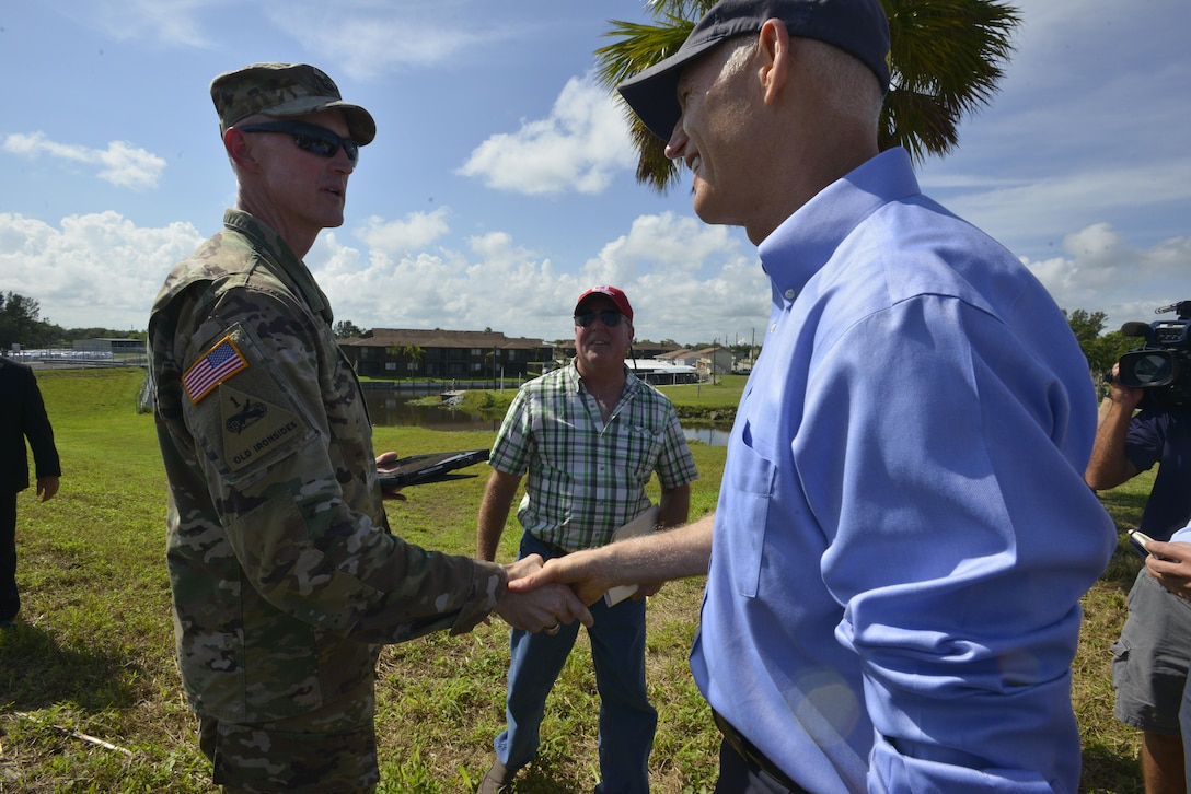 CLEWISTON, Fla. – Jacksonville District Commander, Col. Jason Kirk welcomed Florida Gov. Rick Scott to the Herbert Hoover Dike at Lake Okeechobee on Oct. 9, 2017.