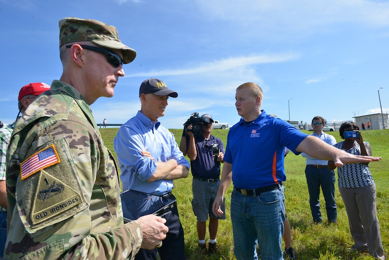 CLEWISTON, Fla. – Jacksonville District Commander, Col. Jason Kirk welcomed Florida Gov. Rick Scott to the Herbert Hoover Dike at Lake Okeechobee on Oct. 9, 2017.