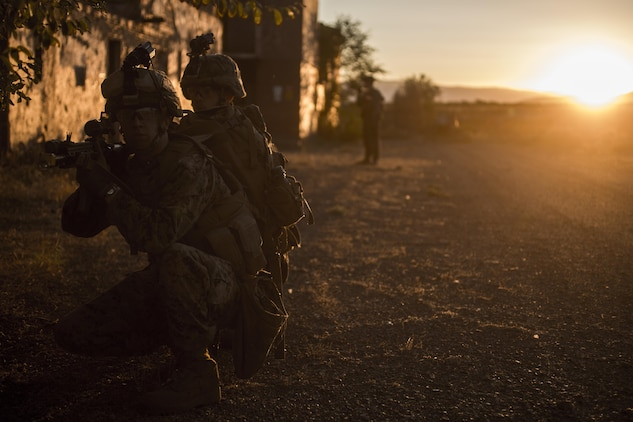 U.S. Marine Corps infantry riflemen assigned to Special Purpose Marine Air-Ground Task Force-Crisis Response-Africa hold security during the final exercise of urban operations training at Minas De Alquife, Spain, Sept. 11, 2017. SPMAGTF-CR-AF deployed to conduct limited crisis response and theater security operations in Europe and North Africa. (U.S. Marine Corps Photo by Cpl. Jodson B. Graves)