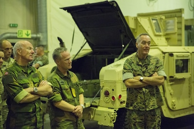 Marine Corps Gen. Joseph F. Dunford Jr., chairman of the Joint Chiefs of Staff is briefed about the capabilities of the Marine Corps Prepositioning Program Norway (MCPP-N) in Norway, Sept. 20, 2017. The MCPP-N cave sites provide strategic benefits and logistics capability by facilitating the movement of equipment to key locations. (U.S. Marine Corps photo by Lance Cpl. Jesus Flores)