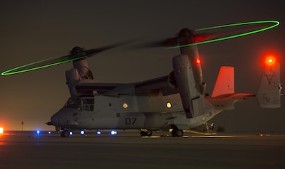 An MV-22C Osprey assigned to Special Purpose Marine Air-Ground Task Force-Crisis Response-Africa, prepares for night operations at Morón Air Base, Spain, Oct. 4, 2017. SPMAGTF-CR-AF deployed to conduct limited crises-response and theatre-security operation in Europe and North Africa. (U.S. Marine Corps photo by Sgt. Takoune H. Norasingh)