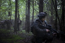 Marine with Marine Rotational Force-Europe holds a defensive position during Exercise Aurora 17 in Lärbro, Sweden, Sept. 20, 2017. Aurora 17 is the largest Swedish national exercise in more than 20 years, and it includes supporting forces from the U.S. and other nations in order to exercise Sweden's defense capability and promote common regional security. (U.S. Marine Corps photo by SSgt. Marcin Platek/Released)