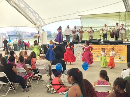 DAYTON, Ohio - Miguel Maldonado, Air Force Research Laboratory Fuels and Energy branch chief, performs on the timbales as part of the band Rondalla de Puerto Rico during the 7th Annual Hispanic Heritage Festival & Parade in Dayton, Ohio Sept. 16, 2017. AFRL recruited Maldonado from Puerto Rico after college and he's spent the last 30 years bringing Latin culture to the local area.(Courtesy photo/Miguel Maldonado)