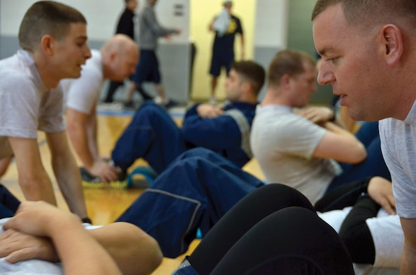Airmen from the 445th Airlift Wing complete their physical fitness test during a unit training assembly weekend.