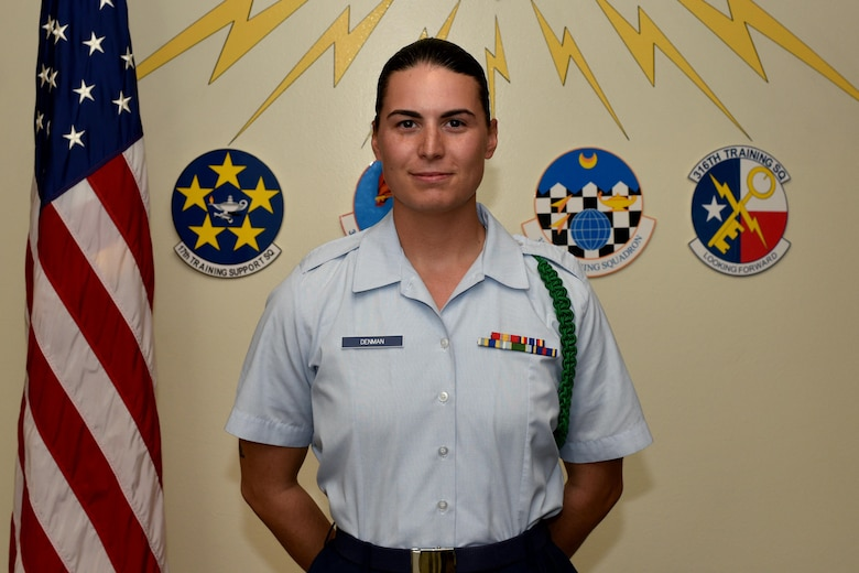 315th Training Squadron Student of the Month for Sept. 2017, U.S. Air Force Airman Patricia Denman, 315th Training Squadron trainee, in Brandenburg Hall on Goodfellow Air Force Base, Texas, Oct. 5, 2017. The 17th Training Wing's mission is to develop and inspire exceptional intelligence, surveillance and reconnaissance, and fire protection professionals for America and her allies. (U.S. Air Force photo by Airman 1st Class Randall Moose/released)