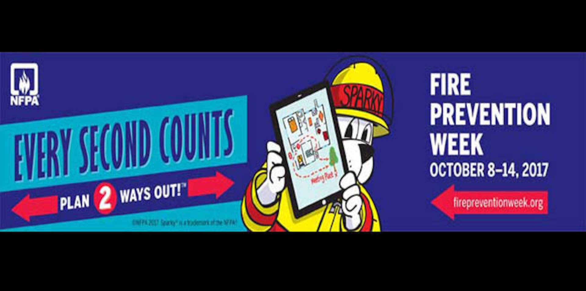Fire Prevention Week is Oct. 8 - 14, 2017 and DLA Installation Support at Richmond, Virginia's Fire and Emergency Services personnel are sending information out to Richmond employees to check smoke alarms and plan and practice two ways out, because every second counts.