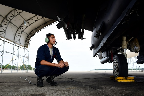 Senior Airman Juan Cruz, 4th Aircraft Maintenance Squadron crew chief, conducts a preflight check, Oct. 4, 2017, at Seymour Johnson Air Force Base, North Carolina. Cruz was highlighted during Hispanic Heritage Month for being recognized as an outstanding Airman by his leadership. (U.S. Air Force photo by Airman 1st Class Kenneth Boyton)