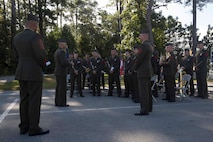 Maj. Gen. John K. Love, the 2nd Marine Division Commanding General, speaks to Marines with the 2nd Marine Division Band after an anniversary ceremony at Camp Lejeune, N.C., Oct. 6, 2017. Marines of past and present gathered to commemorate the 100th anniversary of the inception of 8th Marine Regiment. The unit was established Oct. 9, 1917. (U.S. Marine Corps photo by Pfc. Nicholas Guevara)