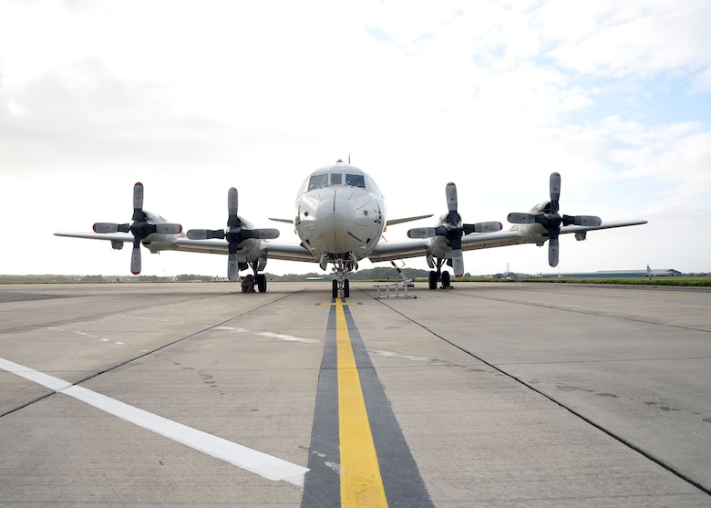 A U.S. Navy P-3C Orion aircraft sits on the flightline Oct. 2, 2017, on RAF Mildenhall, England. Two of the U.S. Navy aircraft, manned by the VP-46 Grey Knights from Naval Air Station Whidbey Island, Wash., were returning from a six-month deployment in support of U.S. Central Command operations and stopped overnight at RAF Mildenhall on their way home. (U.S. Air Force photos by Karen Abeyasekere)