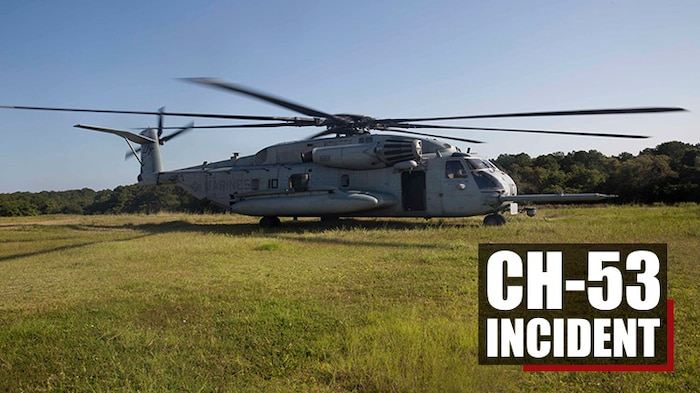 A CH-53 Super Stallion lands in a field at Marine Corps Air Station New River, N.C., during a formation flight, Sept. 25, 2017. The formation flight allowed the Marines to showcase their ability to plan and execute an eight-aircraft formation. The Marines are with HMHT-302. (Marine Corps Photo by Pfc. Nicholas Guevara)
