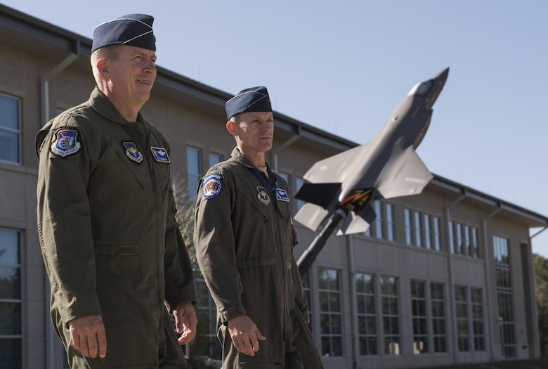 U.S. Air Force Maj. Gen. Patrick Doherty, 19th Air Force commander, left, exits the F-35 Academic Training Center with Lt. Col. John Snyder, 58th Fighter Squadron commander, Oct. 3, 2017, at Eglin Air Force Base, Fla. Doherty and other 19th AF leadership visited the 33rd Fighter Wing to meet with the Airmen who carry out the mission on a daily basis. This interaction bridges the gap between the tactical and strategic levels of operations, ensuring everyone is oriented to a common goal. (U.S. Air Force photo by Staff Sgt. Peter Thompson)