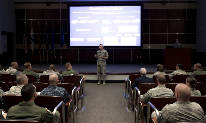 U.S. Air Force Lt. Gen. Darryl Roberson, Air Education and Training Command commander, speaks with members of the 33rd Fighter Wing during a senior leadership all-call Oct. 3, 2017, at Eglin Air Force Base, Fla. During Roberson's visit to the wing, he hosted a senior leadership all-call, during which he lauded the Nomad's progress with the F-35 program throughout the expansion the wing has undergone during recent years.  (U.S. Air Force photo by Staff Sgt. Peter Thompson)