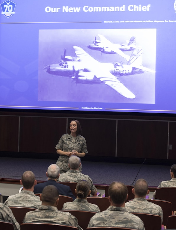 U.S. Air Force Chief Master Sgt. Juliet Gudgel, Air Education and Training Command command chief, speaks with members of the 33rd Fighter Wing during a senior leadership all-call Oct. 3, 2017, at Eglin Air Force Base, Fla. During Gudgel's first visit to the wing, she discussed the importance of creating an atmosphere that promotes innovation in the work place. (U.S. Air Force photo by Staff Sgt. Peter Thompson)