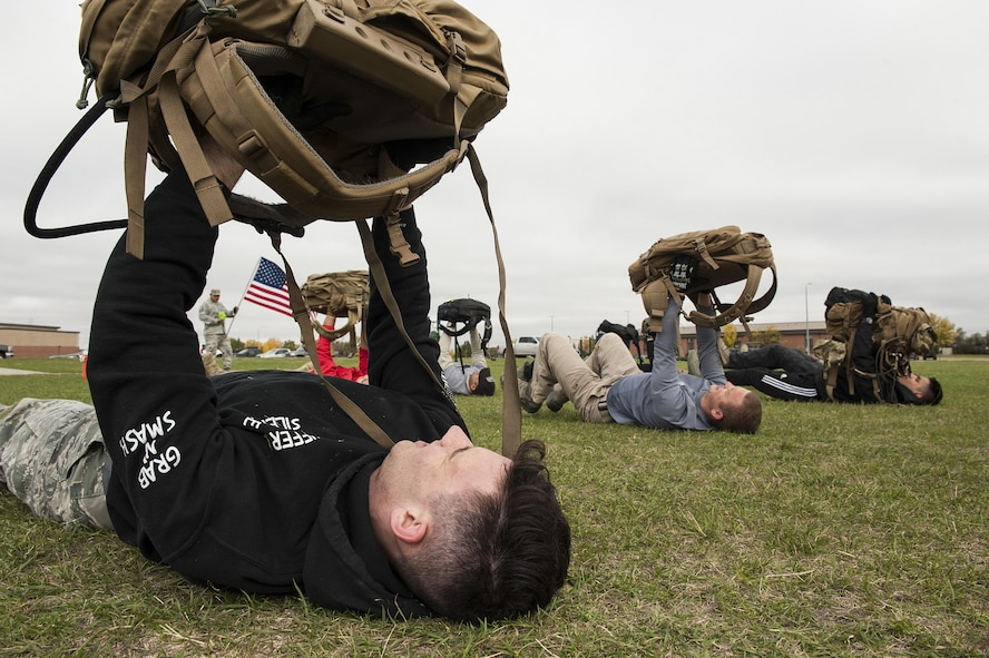 Nine Airmen at Minot Air Force Base came together to overcome adversity as a unit during the Team Cohesion Challenge.
