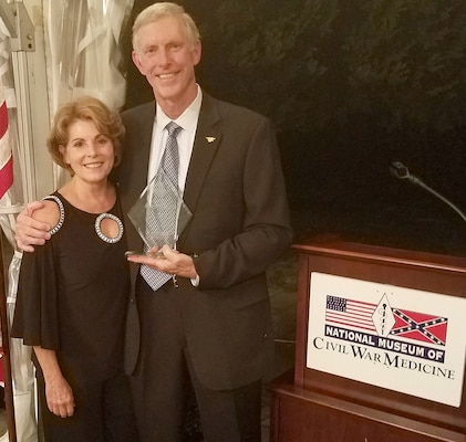 Dr. Frank Butler and his wife Debbie during the award ceremony where he was presented the 10th Annual Major Jonathan Letterman Medical Excellence Award by the National Museum of Civil War Medicine Sept. 15.