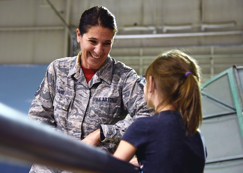 Master Sgt. Wilma Davis from the 117th Maintenance Squadron talks about opportunities for young women during the Women in Aviation event at the Southern Museum of Flight