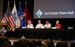 U.S. Army Maj. Gen. Malcolm Frost, Center for Initial Military Training and Senior Army Element commander, answers an audience member's question during a Fort Eustis' Town Hall at Joint Base Langley-Eustis, Va., Oct. 5, 2017.
