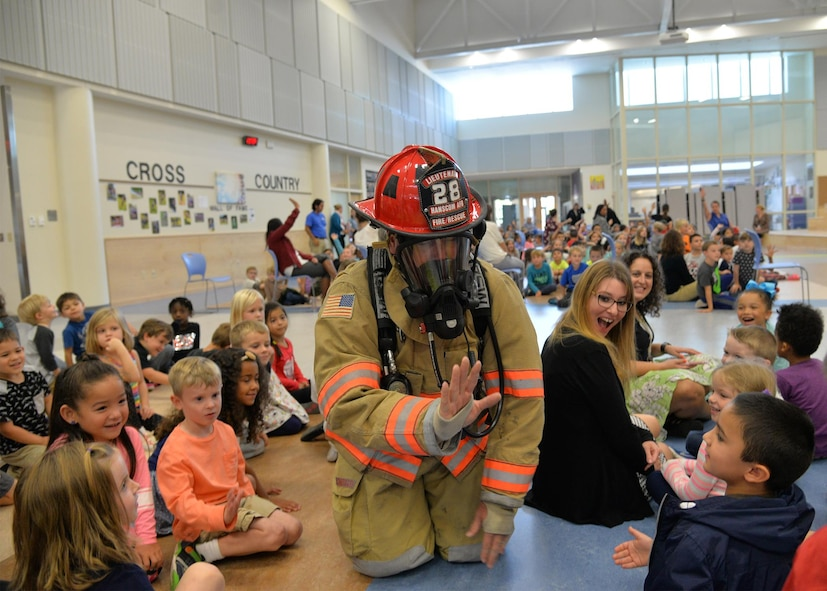 Fire fighter demonstrates