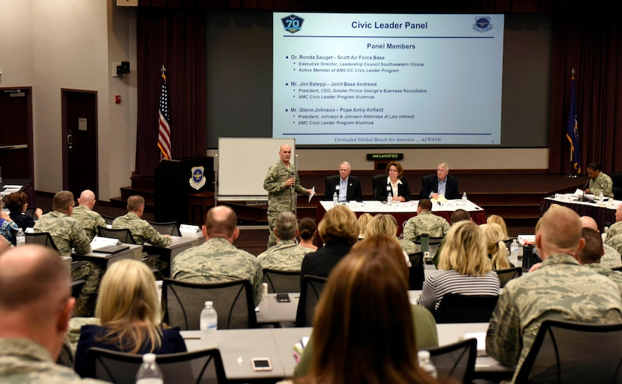 Gen. Carlton D. Everhart II, Air Mobility Command commander, discusses the importance of civic leaders in the community to commanders during AMC's fall Phoenix Rally at Scott.