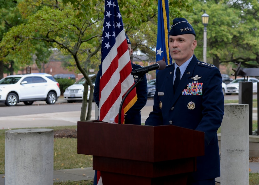 Gen. Carlton Everhart, Air Mobility Command commander, speaks at AMC's Walk of Fame induction ceremony for Sir Alan Cobham, Oct. 5, 2017, at Scott Air Force Base, Ill.