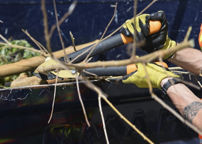 A U.S. Air Force Airman assigned to the Base Appearance Team cuts tree branches at Joint Base Langley Eustis, Va., Oct. 2, 2017.