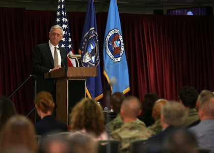 FORT MEADE, Md. -- Secretary of Defense James Mattis addresses a joint USCYBERCOM and NSA workforce here June 19. Navy Adm. Michael Rogers, Commander of USCYBERCOM, met with Mattis and hosted him for a brief tour of the facility.