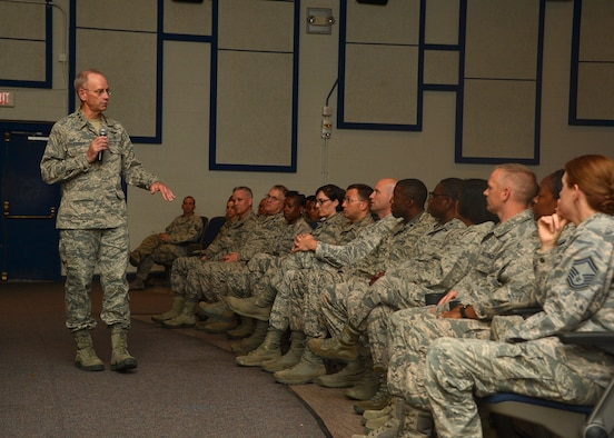 Lt. Gen. Mark Ediger, Headquarters U.S. Air Force Surgeon General, speaks with the members of the 56th Medical Group during an all call at Luke Air Force Base, Ariz., Oct. 11, 2017. Ediger visited Luke to see the new renovations to the 56th MDG and how they support the F-35A Lightning II mission. (U.S. Air Force photo by Senior Airman Devante Williams)